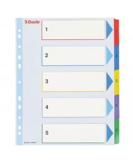 INTERCALAIRE A4+ CARTE BRISTOL BLANCHE      5 ONGLETS NUMÉRIQUES RÉINSCRIPTIBLES MULTIC. - 1 JEU