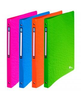 CLASSEUR 4 ANNEAUX PLASTIQUE  ART POP A4 - DOS 2 CM COULEURS ASSORTIESréf. 0128-36