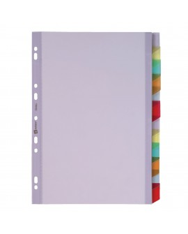 INTERCALAIRE A4 PVC COLORÉ  12 ONGLETS NEUTRES MULTICOLORES - 1 JEUréf. 0266-12