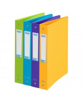 CLASSEUR 4 ANNEAUX PLASTIQUE   A4 - DOS 4 CM COULEURS PASTEL ASSORTIESréf. 0516-45