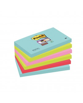NOTES COULEURS  SUPER  POST-IT 76 X 127 MM - BLOC DE 90 FEUILLES  réf. 0542-45