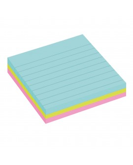 NOTES LIGNÉES COULEURS  SUPER  POST-IT 101 X 101 MM ASSORTIS - BLOC DE 70 FEUILLES  réf. 0542-68