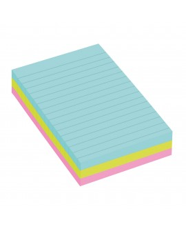 NOTES LIGNÉES COULEURS  SUPER  POST-IT 101 X 152 MM ASSORTIS - BLOC DE 90 FEUILLES  réf. 0543-45