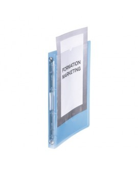 CLASSEUR 4 ANNEAUX PLASTIQUE  PERSONNALISABLE A4 - DOS 2,5 CM COULEUR TRANSLUCIDEréf. 0722-27