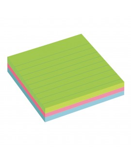 NOTES LIGNÉES COULEURS NÉON SUPER  POST-IT 101 X 101 MM ASSORTIS - BLOC DE 70 FEUILLES  réf. 0879-93