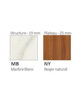 Plateau noyer naturel/pied marbre blanc